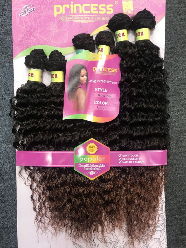 "Princess ROSE CURL Weave 6 PCS 22""20""18"" (240g)"
